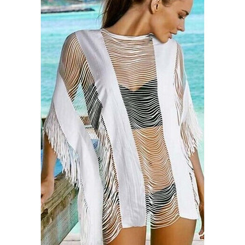 Trendy Hollow Out Tassel Design  Beach Cover Up