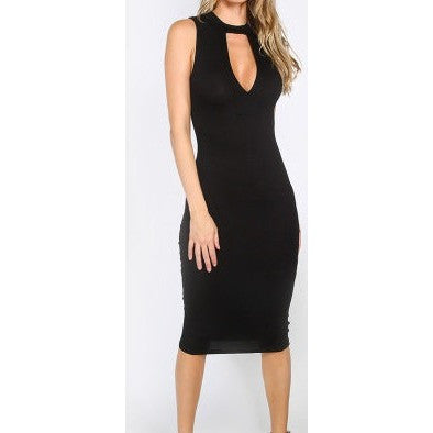 Black Cut-Out Sleeveless Sheath Dress