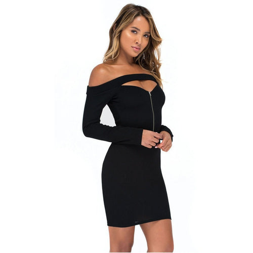 Slash Neck Long Sleeve Bodycon Dress