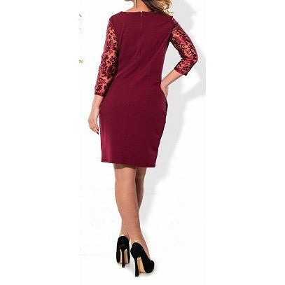 Wine Red Office Dress (plus sizes also available)