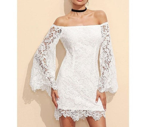 Long Sleeve Lace Off Shoulder Dress