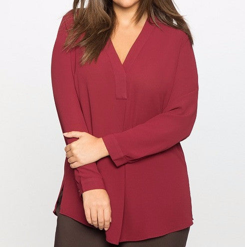 Women's Long Sleeve Pleated Chiffon Blouse (Plus sizes)