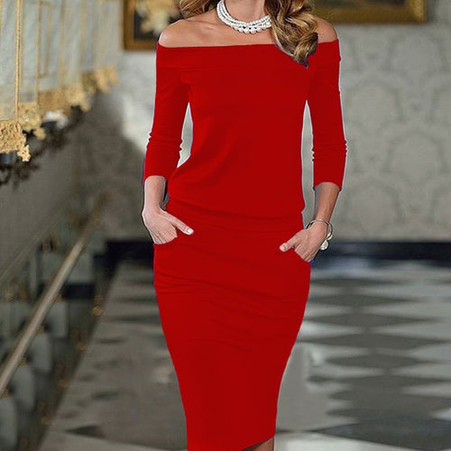 Off Shoulder Fitted Red Dress