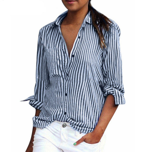 Long Sleeve Striped Blouse (plus sizes available)
