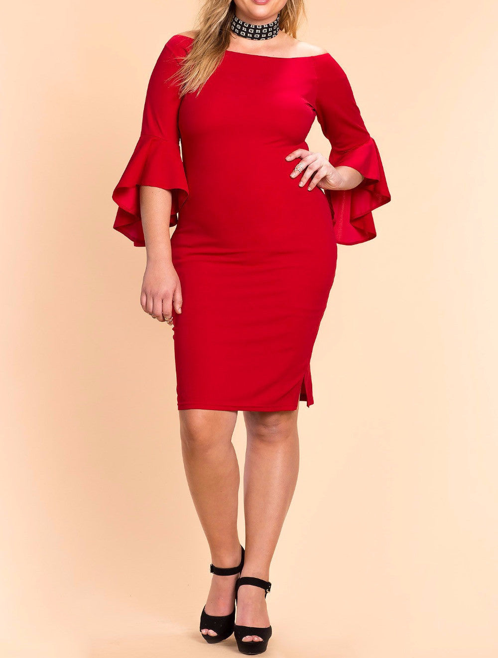 Sexy Ruffle Sleeve Party Dress (Plus Sizes available)