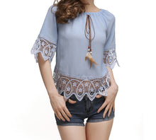Lace Trimmed Off Shoulder Blouse