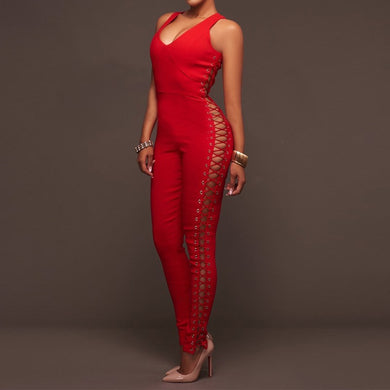 Sexy Sleeveless Lace Up Jumpsuit
