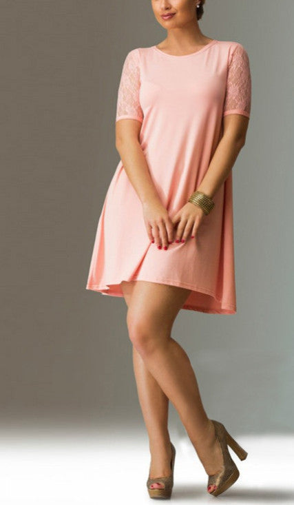 Lace Sleeve Short Dress (plus sizes available)