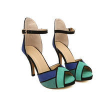 Color Block Peep Toe Pumps
