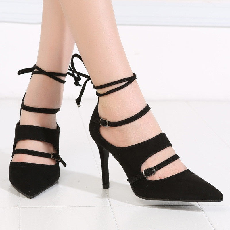 Buckle and Lace Stilettos