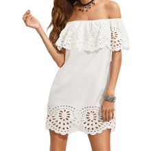 Boho White Cut Out Ruffle Dress