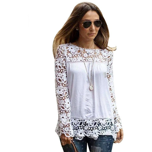 Women's White Sheer Embroidery Lace Blouse