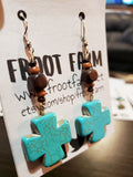 Wood Bead & Turquoise Crackle Cross Earrings