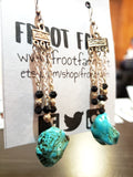 Turquoise Rock & Black Glass Bead Earrings
