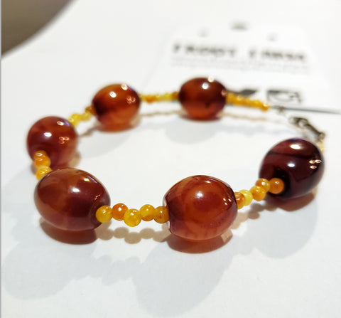 Brown & Yellow Amber Colored Beaded Bracelet - 8 Inches