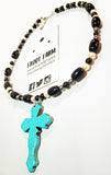 Turquoise Crackle Cross on Black, Gray, & Pearl Beaded Necklace - Adjustable 21 to 23 Inches