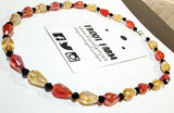 Red, Yellow, & Black Glass Beaded Necklace - 21 Inches