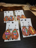 Faux Leather Serape Cactus Double Sided Dangle Earrings