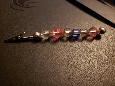 Pink, Blue, Clear, & Silver Beaded Clip