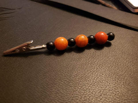 Orange & Black Beaded Clip