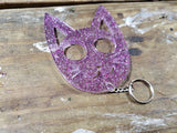 **IMPERFECT** - Kitty Self Defense Keychain - Pink, Purple, & Silver Glitter (Ready to Ship)
