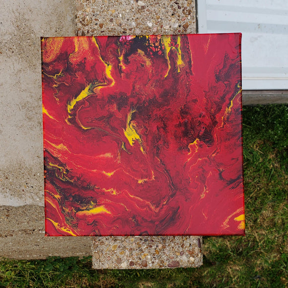 Red & Gold Acrylic Pour Painting ORriginal Canvas 12