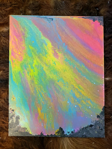 "Abyssal Aurora Original Acrylic Pour Painting on Canvas 11""x14"" black pastel pink blue yellow green purple orange rainbow creepy dark"