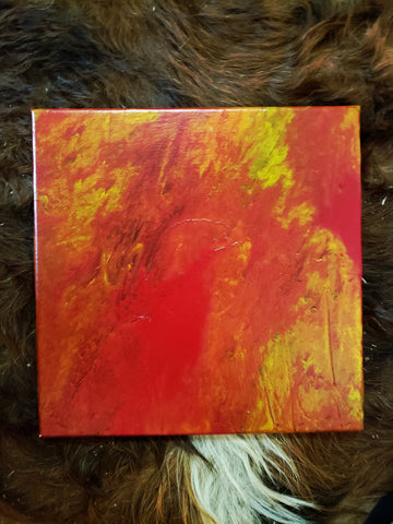 "Fire II Original Acrylic Pour Painting on Canvas 12""x12"" square red yellow orange black phoenix pouring art"