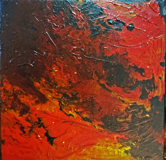 Fire I Original Acrylic Pour Painting on Canvas 12