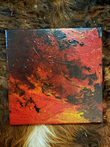 "Fire I Original Acrylic Pour Painting on Canvas 12""x12"" square red yellow orange black phoenix pouring art"