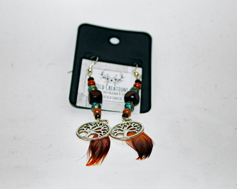 Wood Beaded Tree of Life Feather Earrings