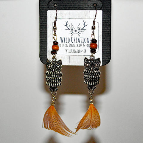 Owl & Feather Dangle Earrings