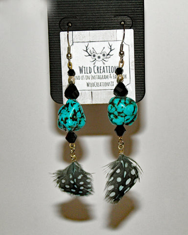 Turquoise Crackle Rock & Guinea Feather Earrings