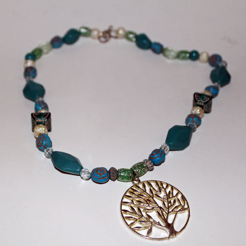 Turquoise Beaded Tree of Life Necklace