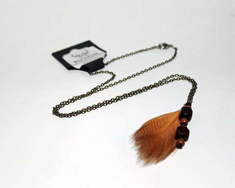 Feather & Wood Bead Necklace