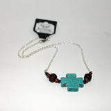 Wood Bead & Turquoise Crackle Cross Necklace
