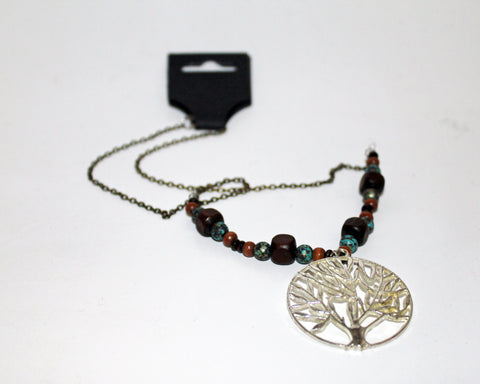Silver Tree of Life with Wood Beads Necklace