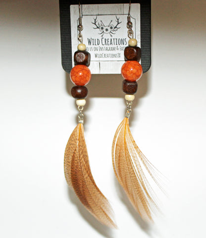 Wood & Orange Bead with Feather Earrings