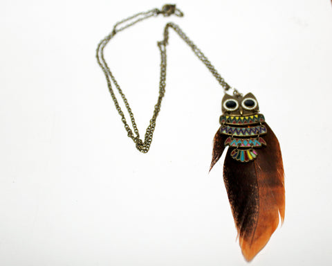 Feather & Owl Necklace