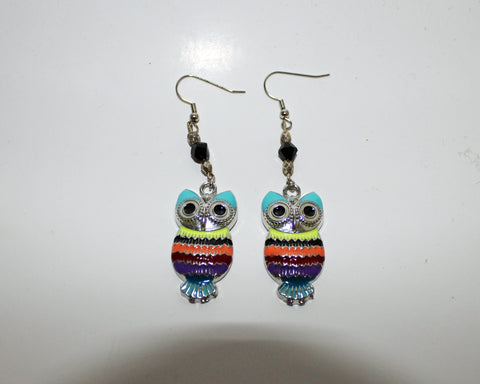 Owl & Glass Bead Dangle Earrings
