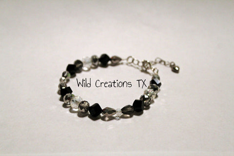Black & Silver Glass Bead Adjustable Bracelet