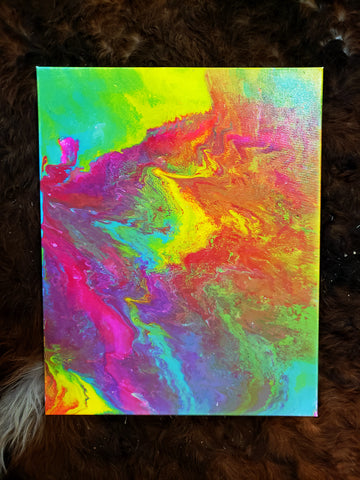 "Tropical Splash Original Acrylic Pour Painting on Canvas 18""x20"" pink red orange yellow green blue purple rainbow bright"