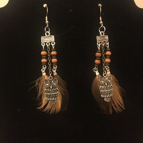 Beaded Owl & Feather Earrings