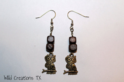 Perched Owl & Wood Bead Earrings