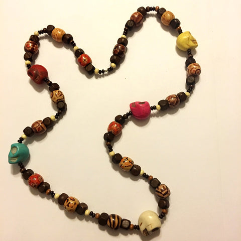 Painted Skulls Wood Bead Necklace