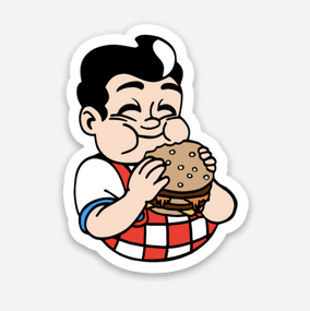 "Hamburger Boy Sticker  (1.49"" x 2"")"