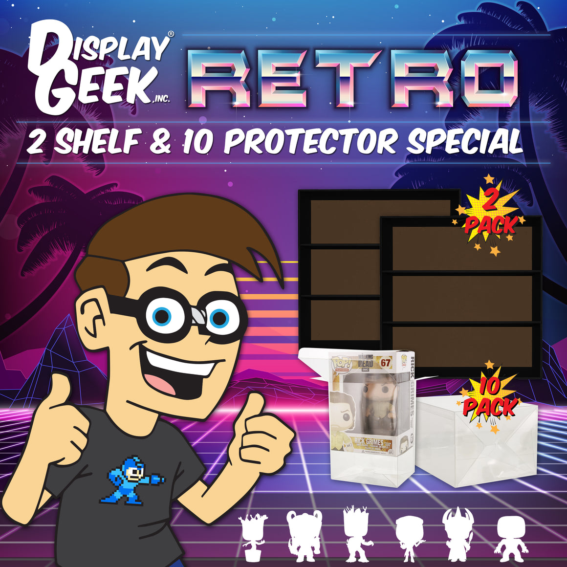 **AT SDCC, ORDERS GO OUT NEXT WEEK** RETRO SPECIAL - 2 Classic Displays & 10 Protectors for Funko Pops (LIMITED TIME ONLY!)