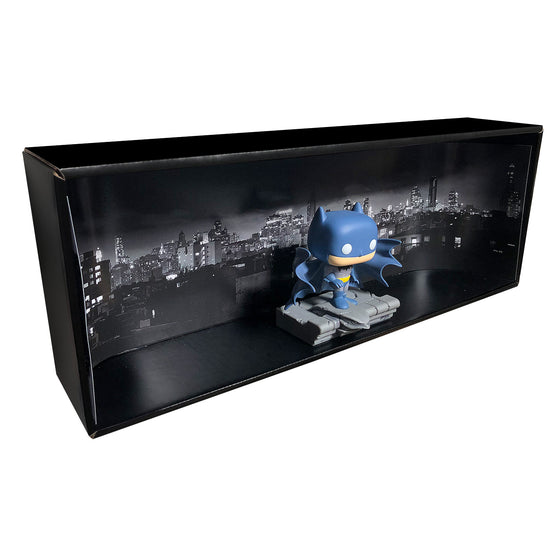 BATMAN - Single Row Display Case with Backdrop Insert, Wall Mountable & Stackable Pop Shelf, Corrugated Cardboard