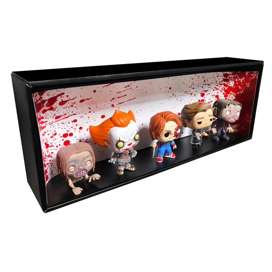 **ETA October** HORROR - Single Row Display Case with Backdrop Insert, Wall Mountable & Stackable Pop Shelf, Corrugated Cardboard