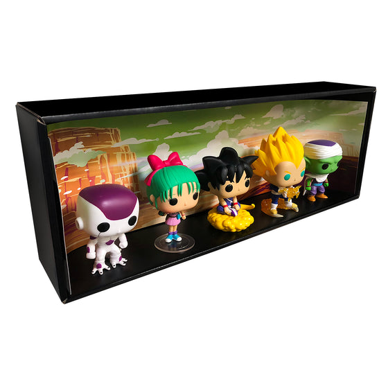 DRAGON BALL - Single Row Display Case with Backdrop Insert, Wall Mountable & Stackable Pop Shelf, Corrugated Cardboard